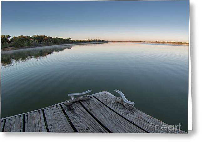 Sunrise On A Clear Morning Over Large Lake With Fog On Top, From Greeting Card
