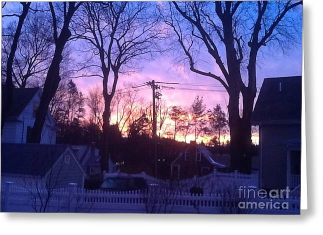 Sunrise On A Cold Fall Morning Greeting Card by Gina Sullivan