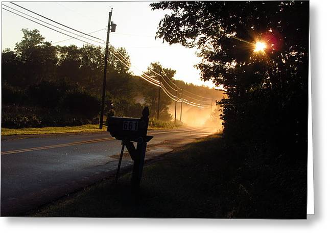 Sunrise On A Country Road Greeting Card