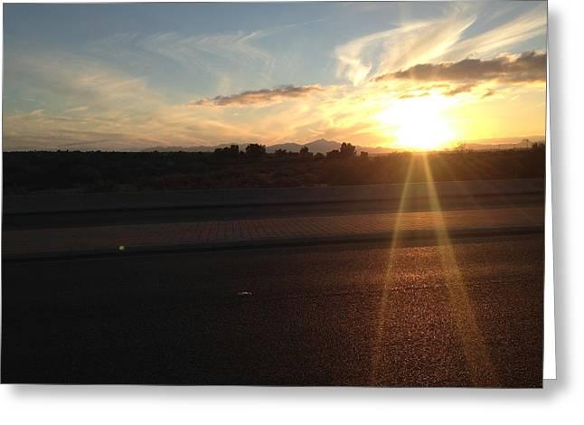 Sunrise On Asphalt Greeting Card