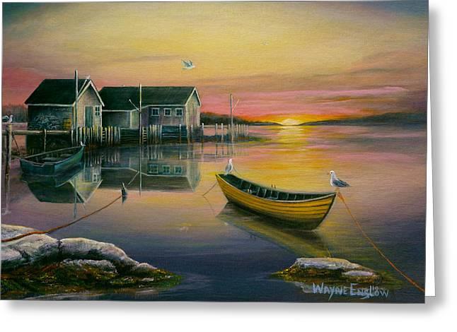 Sunrise On Blue Rocks 2 Greeting Card by Wayne Enslow