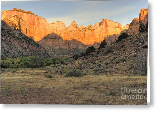 Towers Of The Virgin At Sunrise Greeting Card by Sandra Bronstein