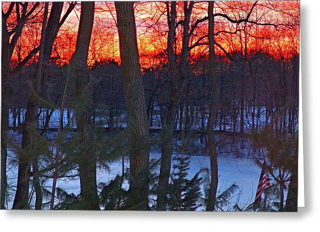 Sunrise On Farrington Lake Greeting Card by Aron Chervin