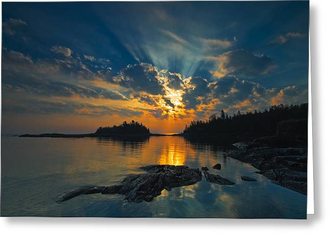 Sunrise On Georgian Bay, Fathom Five Greeting Card by Mike Grandmailson