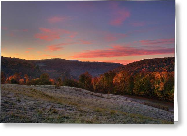 Greeting Card featuring the photograph Sunrise On Jenne Farm - Vermont Autumn by Joann Vitali