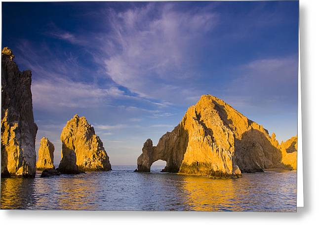 Sea Of Cortez Greeting Cards - Sunrise On Lands End, Los Arcos Rock Greeting Card by Ralph Lee Hopkins