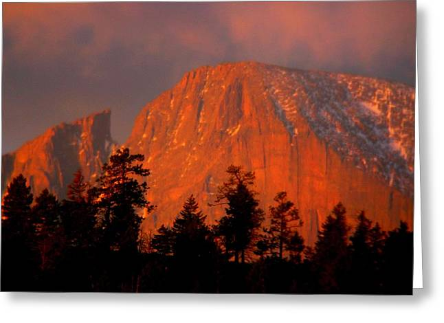 Sunrise On Long's Peak Greeting Card