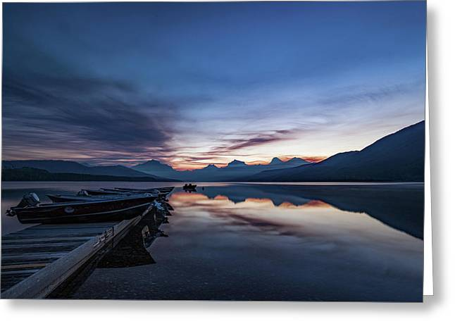 Greeting Card featuring the photograph Sunrise On Mcdonald Lake by Lon Dittrick