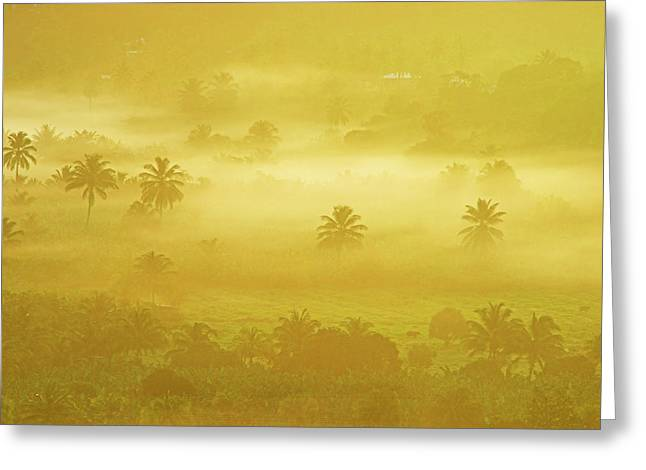 Sunrise On Mist In Roseau Valley- St Lucia Greeting Card by Chester Williams