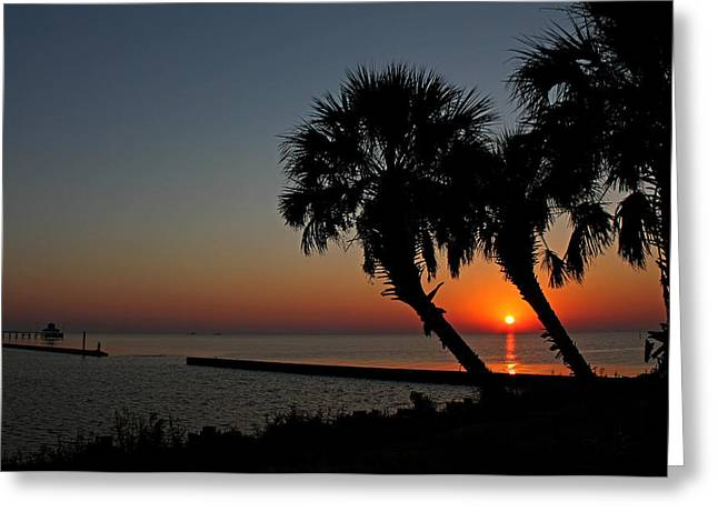 Greeting Card featuring the photograph Sunrise On Pleasure Island by Judy Vincent