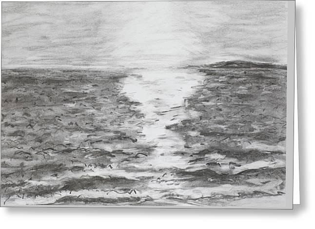 Sunrise On Sea, Drawing Greeting Card by Dan Comaniciu