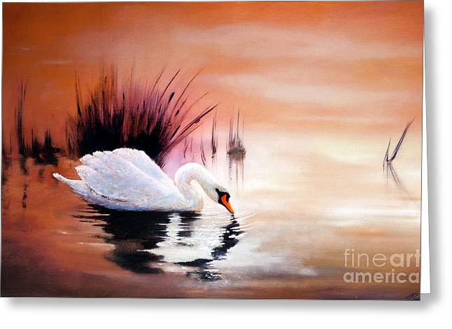 Greeting Card featuring the painting Sunrise On Swan Lake by Michael Rock
