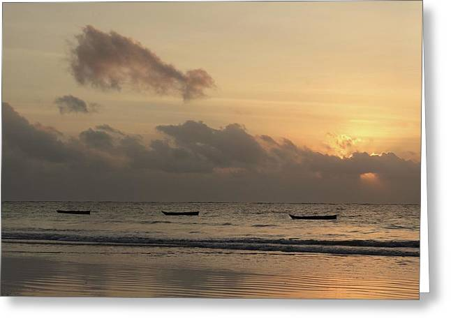 Sunrise On The Beach With Wooden Dhows Greeting Card