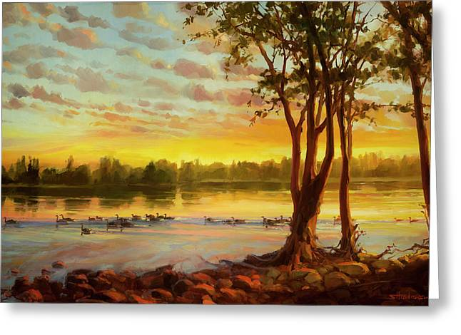 Sunrise On The Columbia Greeting Card