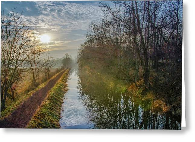 Sunrise On The Delaware Canal - Bucks County Pa Greeting Card by Bill Cannon