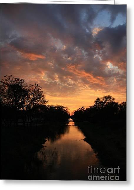 Sunrise On The Illinois Michigan Canal Greeting Card