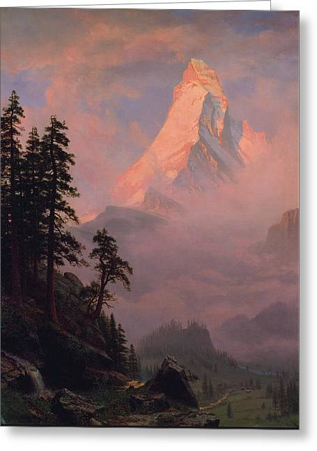 Greeting Card featuring the painting Sunrise On The Matterhorn         by Albert Bierstadt