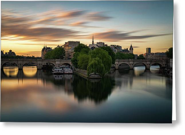 Sunrise On The Seine Greeting Card