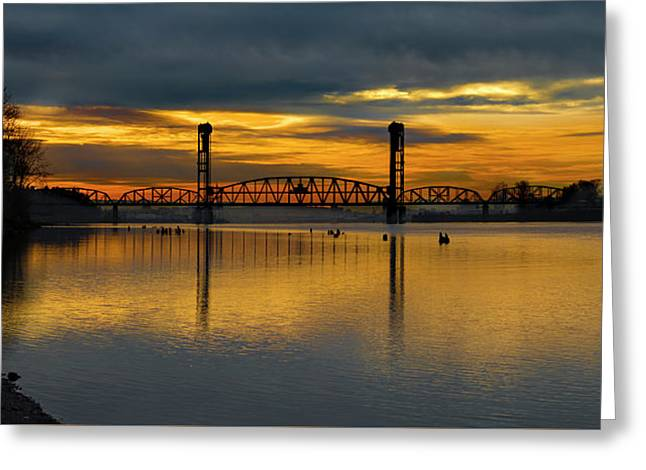Sunrise On The Willamette Greeting Card