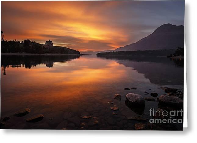 Sunrise On Waterton Lake Greeting Card by Dennis Hedberg