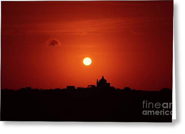 Sunrise Over A Small Town Greeting Card by Stephan Grixti