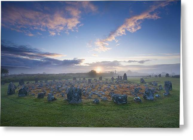 Sunrise Over Beaghmore Stone Circles Greeting Card by Gareth McCormack