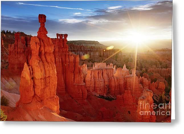 Sunrise Over Bryce Canyon, Utah, Usa Greeting Card