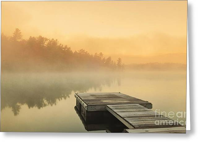 Sunrise Over Calm Lake Greeting Card by Charline Xia