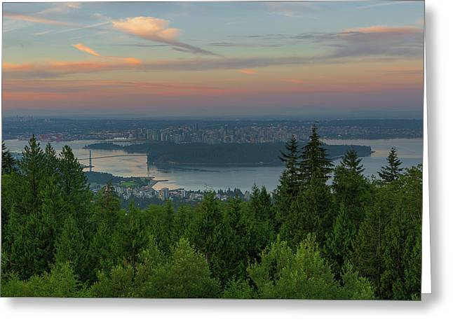 Sunrise Over City Of Vancouver Bc Canada Greeting Card by David Gn
