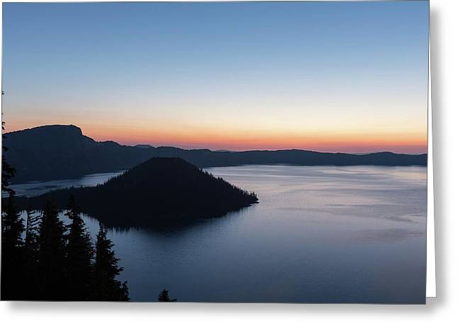 Greeting Card featuring the photograph Sunrise Over Crater Lake by Paul Schultz
