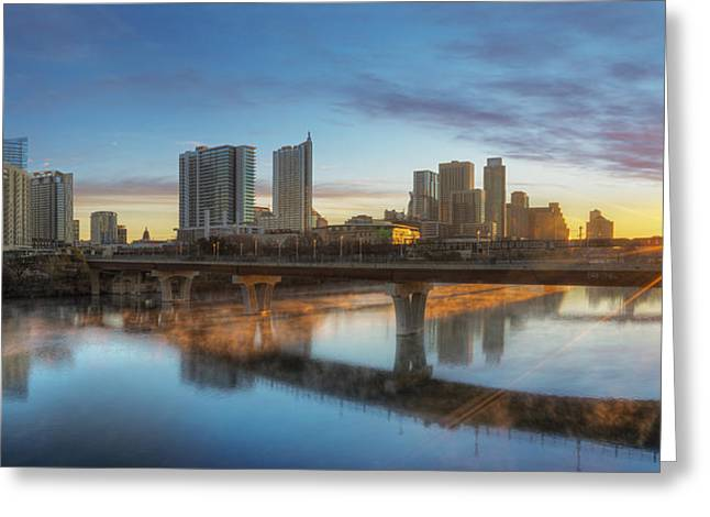 Sunrise Over Downtown Austin And Lady Bird Lake Pano 2 Greeting Card by Rob Greebon