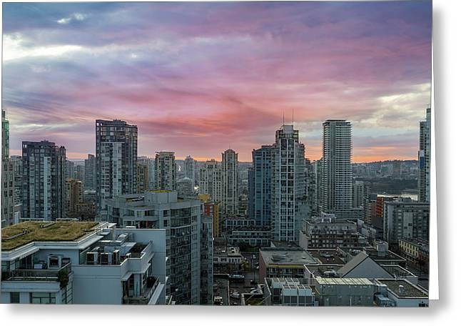 Sunrise Over Downtown Vancouver Bc Greeting Card
