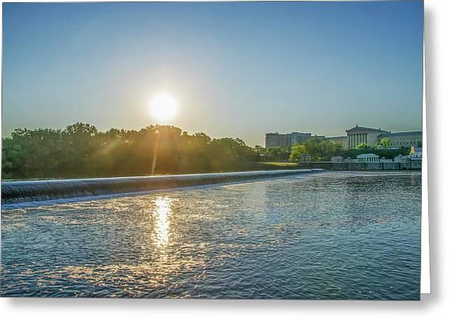 Sunrise Over Fairmount Dam - Philadelphia Greeting Card by Bill Cannon