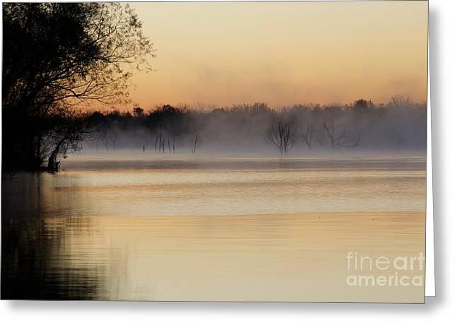 Sunrise Fog Over Water 3 Greeting Card