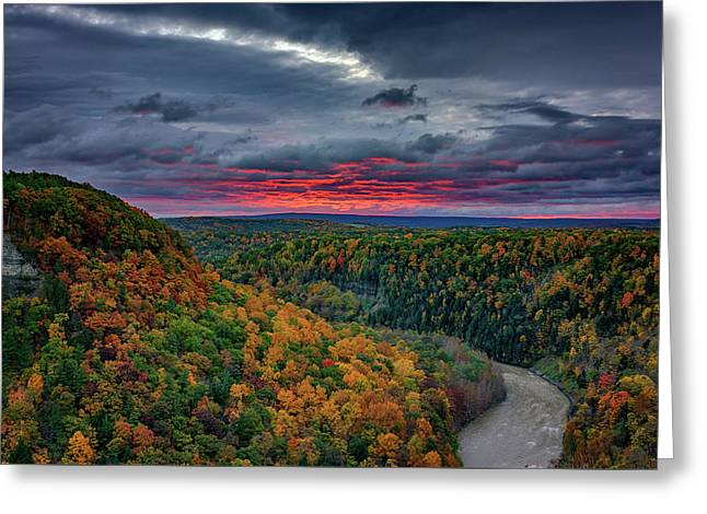 Sunrise Over Genesee River Gorge Greeting Card