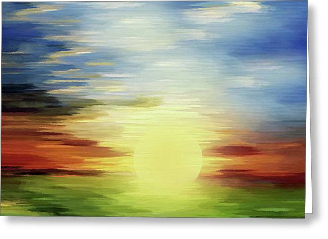 Sunrise Over Green Lands Abstract Greeting Card
