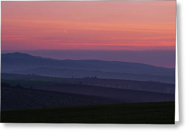 Sunrise Over Hills Of Moravian Tuscany Greeting Card by Jenny Rainbow