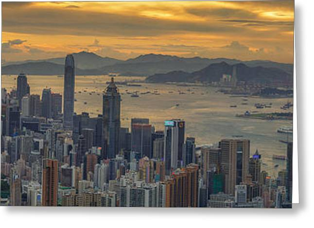 Sunrise Over Hong Kong And Kowloon City Greeting Card by Anek Suwannaphoom