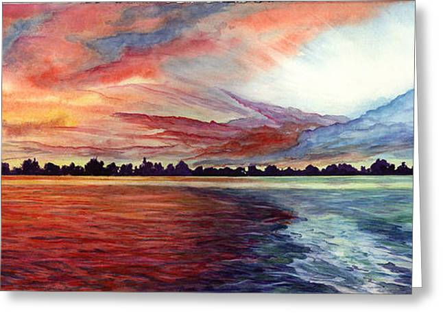 Greeting Card featuring the painting Sunrise Over Indian Lake by Nancy Cupp