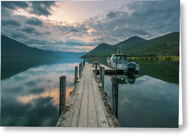 Sunrise Over Lake Rotoroa Greeting Card