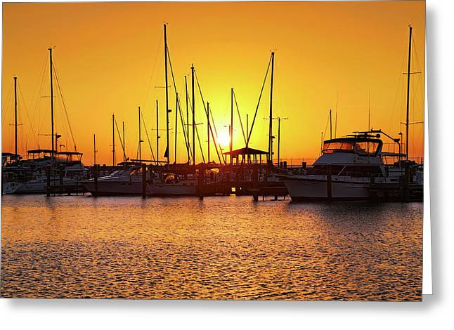 Greeting Card featuring the photograph Sunrise Over Long Beach Harbor - Mississippi - Boats by Jason Politte