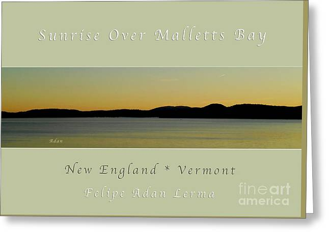 Sunrise Over Malletts Bay Greeting Card And Poster - Six V4 Greeting Card