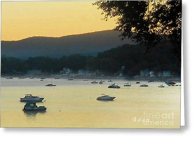 Sunrise Over Malletts Bay Panorama - Nine V2 Detail Greeting Card
