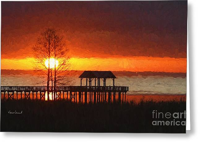 Sunrise Over Mobile Bay, Alabama Greeting Card by Garland Johnson