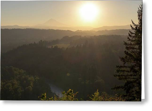 Sunrise Over Mount Hood And Sandy River Greeting Card by David Gn