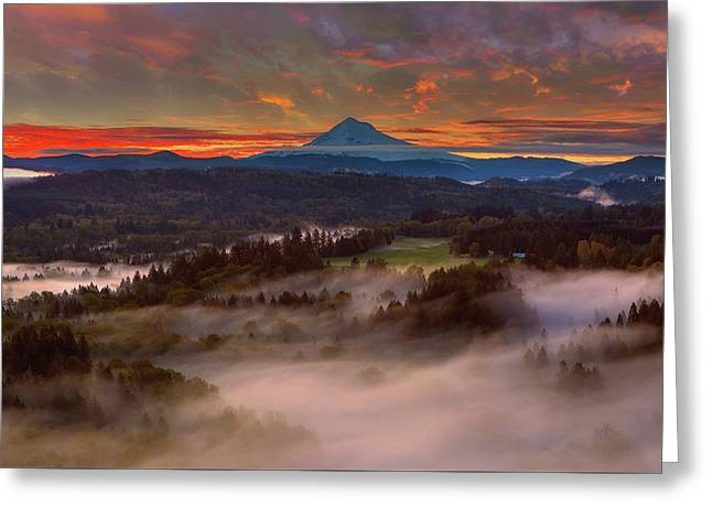 Sunrise Over Mount Hood And Sandy River Valley Greeting Card by David Gn
