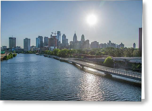 Sunrise Over Philadelphia From The South Street Bridge Greeting Card by Bill Cannon