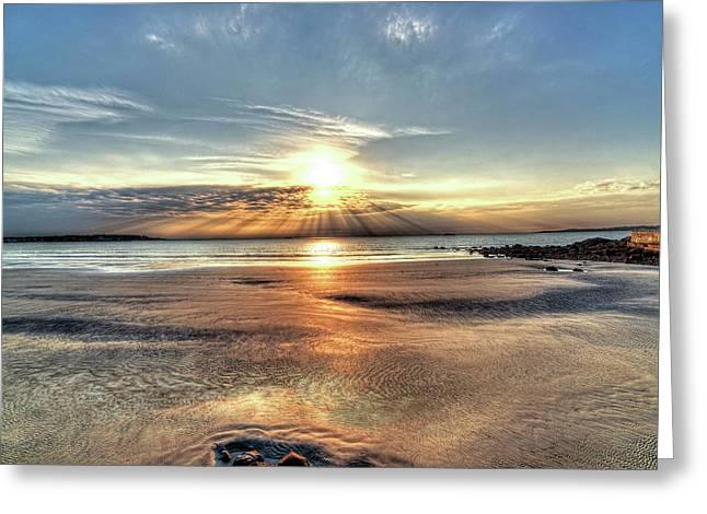 Sunrise Over Red Rock Park Lynn Ma Kings Beach Greeting Card