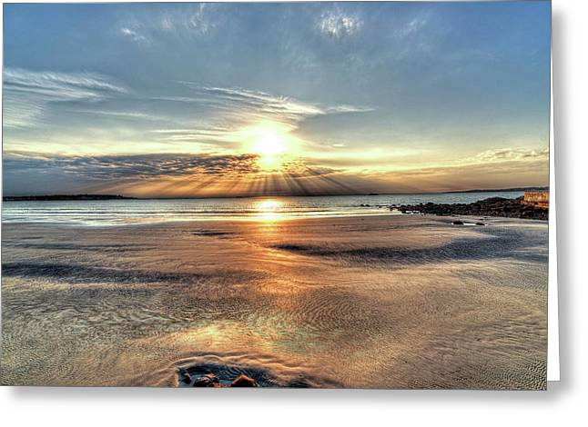 Sunrise Over Red Rock Park Lynn Ma Kings Beach Greeting Card