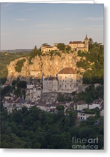 Historic Home Greeting Cards - Sunrise over Rocamadour Greeting Card by Brian Jannsen
